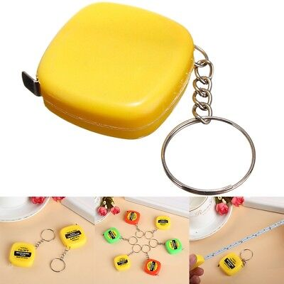 2x Small Portable Plastic Keychain Key Ring Easy Retractable Tape Measure Ruler