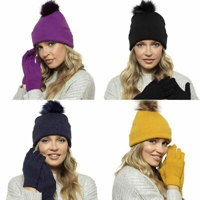 Ladies Womens Winter Bobble Hat & Touch Screen Gloves Set by Foxbury GL550