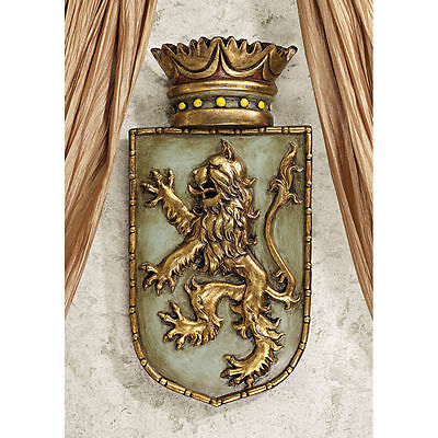Emblazed Lion Crest Wall Sculpture Mideval Gothic King of Beasts Plaque NEW