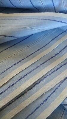 CHIC & SUPERB BOLT ANTIQUE FRENCH COTTON CHAMBRAY STRIPED SHIRTING 1920s UNUSED