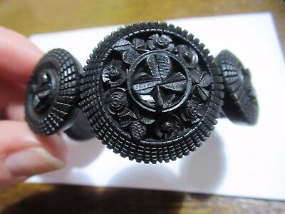 Antique Victorian Irish carved bog oak french jet black flower shamrock bracelet