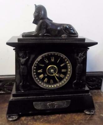 french marble and bronze egyptian style striking mantel clock