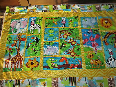 Bright & Colorful Jungle Animals Cotton Baby/Toddler/Youngster Quilt