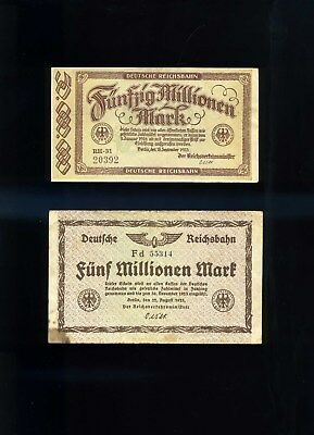(2) Germany~1923 Banknotes ~ 50 Million & 5 Million Mark Notes ~ Post Wwi ~ Cir