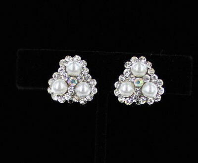 White Floral Faux Pearl w Crystal Accents Silver CLIP ON Earrings Bridal Wedding