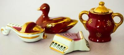 Limoges Miniature French Porcelain Job Lot Four Red Items