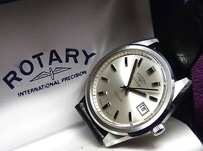 ROTARY New Old Stock VINTAGE GENTS Working Original Box WRISTWATCH circa 1970`s