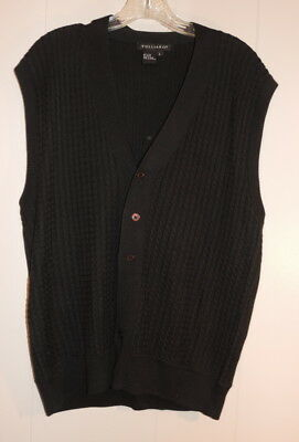 Men's Tulliano Large Black Silk Cable Knit Button Front Sweater Vest