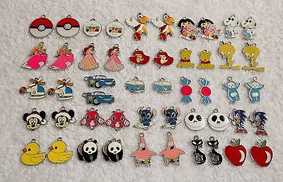 50 IMPERFECT METAL ENAMEL CHARMS Pendants Disney Princess Panda Sonic Dora Z