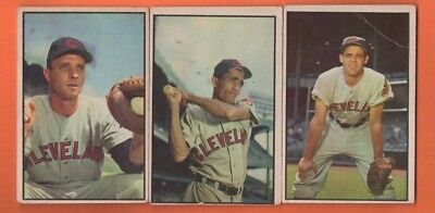 Indians lot of 3 1953 Bowman Baseball Cards - 79 86 102 - Low/Lower Grade