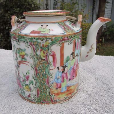 ANTIQUE 19thC CHINESE CANTONESE FAMILLE ROSE ANTIQUE TEAPOT