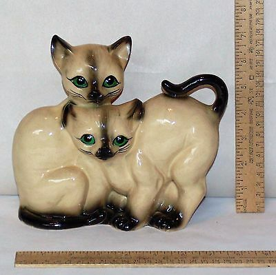 2 CAT FIGURINE - Pair of SIAMESE CATS in ONE FIGURE - By RIES