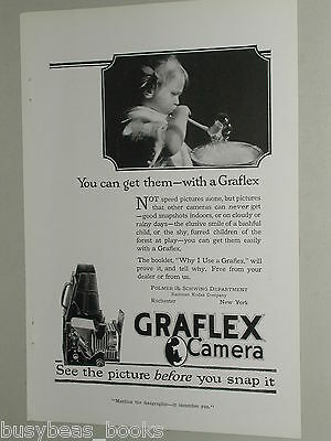 1918 Graflex camera advertisement, folding camera cutaway drawing, Kodak