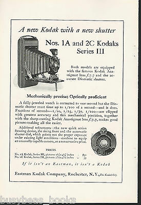 1924 KODAK advertisement, No. 1A & 2C series III, new lenses f7.7
