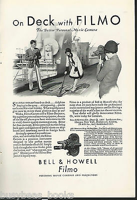1930 Bell & Howell FILMO cameras advertisement, shuffleboard on ocean liner