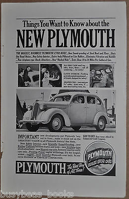 1937 Plymouth advertisement, PLYMOUTH 4-door Sedan