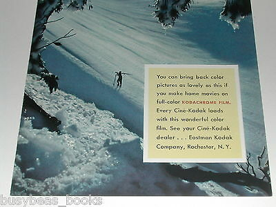 1940 Kodak ad Kodachrome color movie film winter skiing