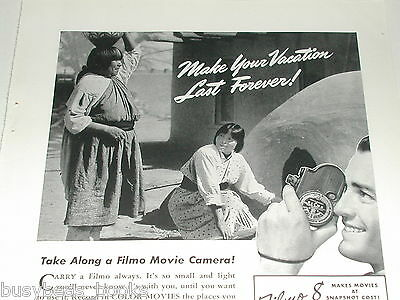 1940 Bell & Howell ad, Filmo 8 movie camera, Pueblo