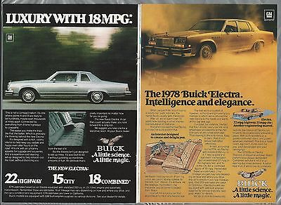 1978 BUICK ELECTRA advertisements x2, Buick Electra ads, sedan and coupe