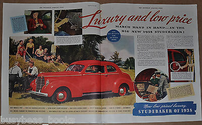 1938 STUDEBAKER 2-page advertisement, Studebaker Coupe, antique automobile ad