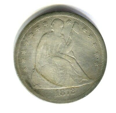 1872 with motto LIBERTY SEATED SILVER DOLLAR full rims