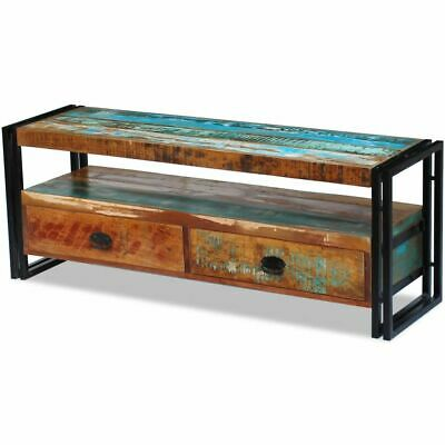 vidaXL Recycled Timber TV Stand Entertainment Unit Side Cabinet 2 Drawer Vintage