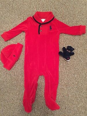 Red Velour Boys Ralph Lauren Xmas Outfit 9month All In1 Romper Hat Free Teddy