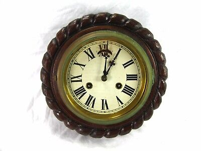 "9"" Antique Ships Wall Clock Bulkhead Oak Carved Rope Nautical Working Condition"