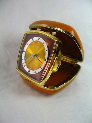 Art Deco Style Travel Alarm Clock By Coral Clock Runs But Alarm Requires Work