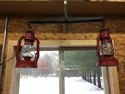 Repurposed Antique Cattle Yoke & DIETZ #8 Lantern lamp Light Chandelier vintage