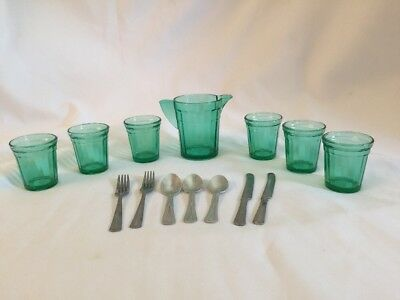 Vtg Depression Glass Children Water Set Akro Agate GREEN 7 Pc & 7 Pc Silverware