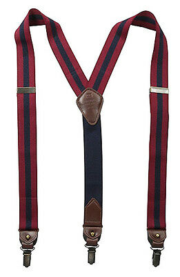 Tommy Hilfiger Men's Elastic Convertible Button & Clip End Suspenders Navy/Red
