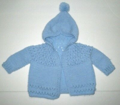 New Infant Boys Handmade Knit Crochet Blue Hoodie Cardigan Sweater 3-6 Months