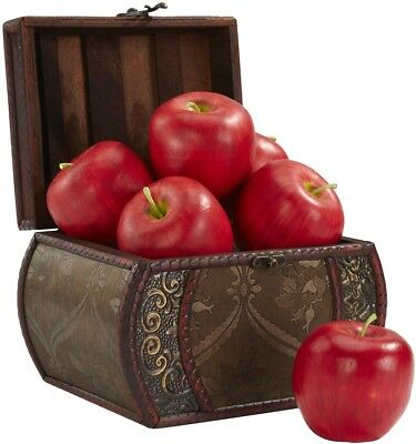 Faux Red Apples Box Fake Fruit Artificial Decor in Home Pears Realistic Vintage