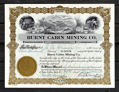 1930 KOOTENAI CO. IDAHO Burnt Cabin Mining Co. Stock Certificate COEUR D' ALENE
