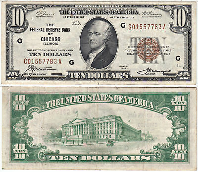 1929 $10 Federal Reserve Bank Chicago Illinois F-1860-G VF