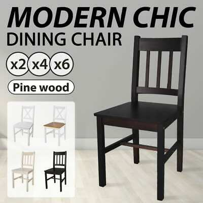 2/4/6 pcs Solid Pinewood Dining Chair Kitchen Dining Room Modern Furniture