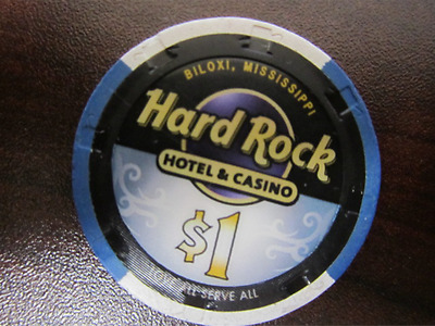 $1 HARD ROCK Biloxi MS Casino Chip for Collection New Design + FREE Poker Chip
