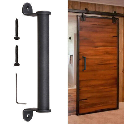 "10"" Sliding Barn Door Cylindrical Handle Cast Iron Pull Gate Cabinet Matte Black"