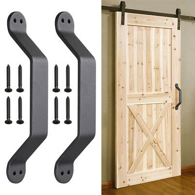 "2pc 9"" Barn Handle Cast Iron Pull Gate Shed Cabinet Matte Black for Sliding Door"