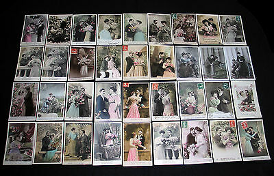 Lot D32 : 36 Cpa Fantaisie Couple Miss Pin-Up Amour Charme Glamour Mode 1900