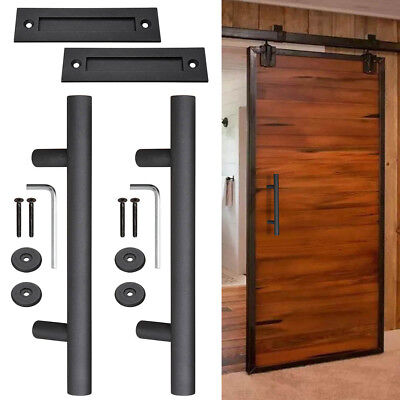"2x 12"" Sliding Barn Door Pull Flush Handle Hardware Set Cast Iron Matte Black"