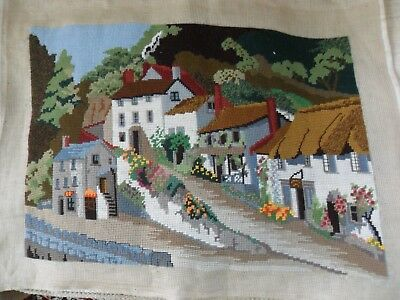 "Completed Tapestry Needlepoint Canvas.Country Cottage Scene  26 x 21"".  Used"
