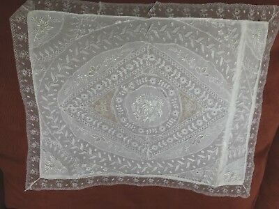 ANTIQUE NET LACE VICTORIAN PILLOW COVER EMBROIDERED  13-1/2  x 17 IN  WHITE
