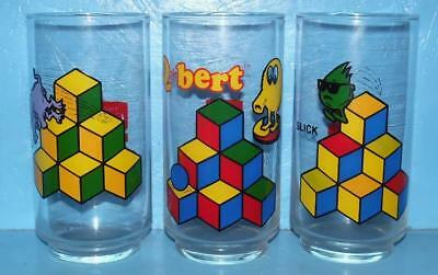 Set of 3 QBERT Game Coke Coca Cola Glasses PROTOTYPE VERY RARE Never Issued 1983
