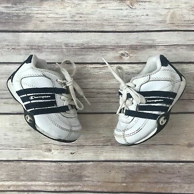 5c890ab11 CHAMPION Boys Size 4 WIDE Infant White Blue Leather Athletic Shoes Sneakers