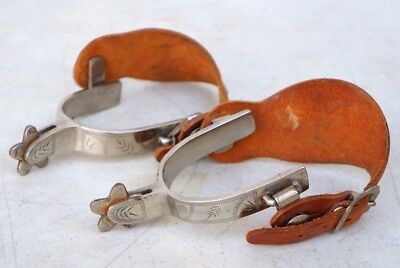 Vintage Hallmarked & Etched Crockett Spurs W/Tooled Leather Straps Nickel Plated