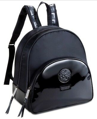 Versace Parfums Black BackPack Medusa Head Hand dust Bag faux patent leather NWT