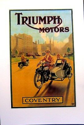"""Triumph Motorcycle W/Sidecar Full Color Poster  Reprint From Original 11"""" X 17"""""""