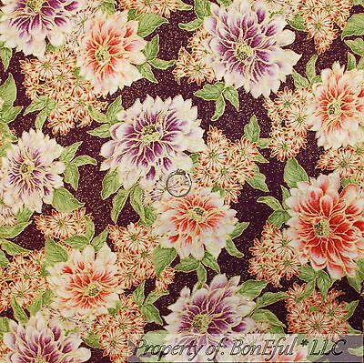 BonEful Fabric FQ Cotton Quilt Purple Gold Metallic Flower Girl Asian Glitter Sm